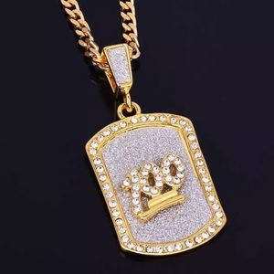 Jewelry - Hip hop iced out dog tag 💯 necklace unisex